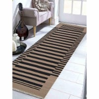 3 x 13 ft. Hand Woven Flat Weave Kilim Wool Contemporary Runner Rug, Cream & Charcoal