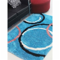 10 x 14 ft. Hand Tufted Shag Polyester Geometric Rectangle Area Rug, Turquoise - 1
