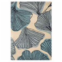 5 x 8 ft. Hand Tufted Wool Floral Rectangle Area Rug, Cream & Blue - 1