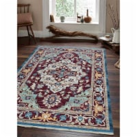 4 ft. 8 in. x 6 ft. 9 in. Machine Woven Crossweave Polyester Oriental Rectangle Area Rug, Red