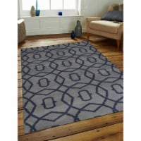 10 x 14 ft. Hand Knotted Wool Geometric Rectangle Area Rug, Light Blue & Blue - 1