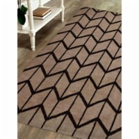 10 x 14 ft. Hand Knotted Wool Geometric Rectangle Area Rug, Beige & Brown - 1