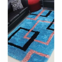 10 x 14 ft. Hand Tufted Shag Polyester Rectangle Area Rug, Turquoise - Geometric - 1