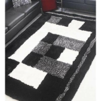 10 x 14 ft. Hand Tufted Shag Polyester Geometric Rectangle Area Rug, Black & Beige