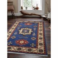 8 x 10 ft. Hand Knotted Afghan Wool & Silk Kazak Rectangle Area Rug, Aqua & White