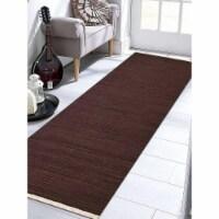 2 ft. 6 in. x 12 ft. Hand Woven Flat Weave Kilim Wool Runner Rug, Dark Brown - 1