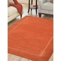 6 ft. 7 in. x 9 ft. 10 in. Hand Knotted Tibbati Wool Contemporary Rectangle Area Rug, Orange - 1