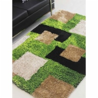 10 x 14 ft. Hand Tufted Shag Polyester Geometric Rectangle Area Rug, Green & Beige - 1