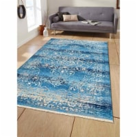 4 ft. 8 in. x 6 ft. 9 in. Machine Woven Crossweave Polyester Oriental Rectangle Area Rug, Blu - 1