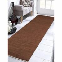 3 x 13 ft. Hand Woven Flat Weave Kilim Wool Runner Rug, Light Brown - 1