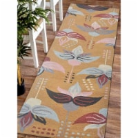 2 ft. 6 in. x 8 ft. Hand Tufted Wool Floral Runner Rug, Gold