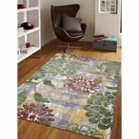 10 x 13 ft. Machine Woven Heatset Polypropylene Floral Rectangle Area Rug, Beige & Green