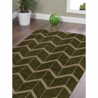 10 x 14 ft. Hand Knotted Wool Geometric Rectangle Area Rug, Green & Beige - 1