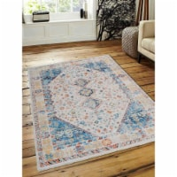 4 ft. 8 in. x 6 ft. 9 in. Machine Woven Crossweave Polyester Oriental Rectangle Area Rug, Mul - 1