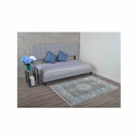 4 ft. 8 in. x 6 ft. 9 in. Machine Woven Crossweave Polyester Oriental Rectangle Area Rug, Bla - 1