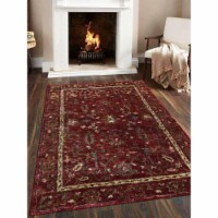 5 x 8 ft. Hand Knotted Jute Eco-Friendly Oriental Rectangle Area Rug, Red
