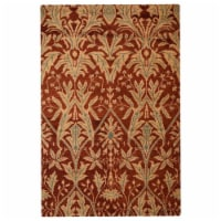 8 x 10 ft. Hand Knotted Wool Floral Rectangle Area Rug, Red & Gold - 1