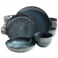 Matisse Double Bowl Dinnerware Set, Cobalt - 16 Piece