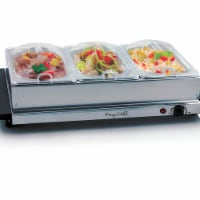 Buffet Server & Food Warmer with 3 Removable Sectional Trays, Heated Warming Tray & Removable