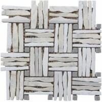 Quartzite Basketweave interlocked Mosaic Blend - White