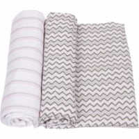 Pink With Gray Stripes Baby Swaddle Blanket - 1