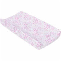Pink Stars Muslin Changing Pad Cover - 1