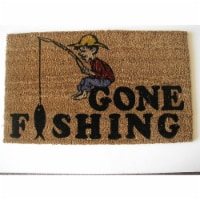 Geo Crafts G144 GONE FISH 18 x 30 in. PVC Backed Stencilled Gone Fishing Doormat