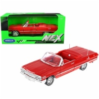 1963 Chevrolet Impala Convertible Red with Red Interior 1/24 Diecast Model Car by Welly - 1