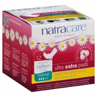 Natracare Organic Ultra Extra Normal Pads with Wings - 12 ct