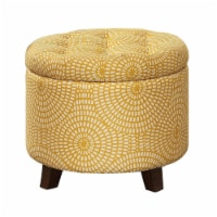 Saltoro Sherpi Button Tufted Wooden Round Storage Ottoman Upholstered In Fabric, Yellow &