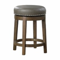 Lexicon Westby 24  Faux Leather Round Swivel Counter Stool in Gray (Set of 2) - 1