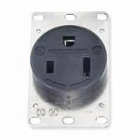 Hubbell Wiring Device-Kellems Receptacle,Single,50A,5-50R,125V,Black  HBL9360 - 1