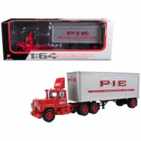 Mack R Model Day Cab P.I.E. With 28\' Pop Trailer 1/64 Diecast Model by First Gear - 1