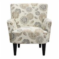 Accent Chair with Fabric Upholstery Flared Arms And Welt Trim in Beige - Wallace & Bay - 1