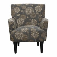 Accent Chair with Fabric Upholstery Flared Arms And Welt Trim in Brown - Wallace & Bay - 1