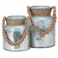 IMAX 23192-2 Roald Lanterns with Braided Rope Handle - Set of 2