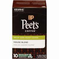 Peet's Coffee House Blend Decaffeinated Dark Roast Coffee K-Cup Pods 10 Count