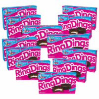 Drake's Ring Dings, 12 Boxes, 96 Individually Wrapped Ring-Shaped Devils Food Cakes - 96