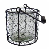 CheungsRattan 15S001WL Round Glass Jar in Wire Basket, White - Large