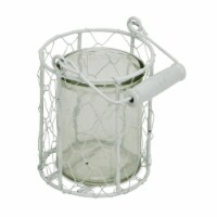 CheungsRattan 15S001WS Round Glass Jar in Wire Basket, White - Small