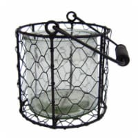 CheungsRattan 15S002BRL Square Glass Jar in Wire Basket, Brown - Large
