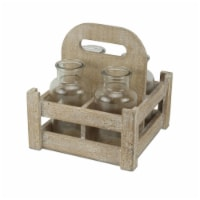 Cheungs 5205 Glass Jars in High Handle Wooden Caddy