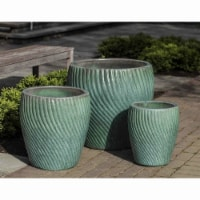 Cheungs 5662GRN Celadon Curved Ceramic Planter, Green