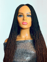 2Chique Boutique Women's Handmade Micro Twist Ombre Braided Wig Color 1b/30, 30 Inches - One Size Fits all