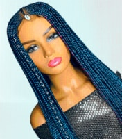 2Chique Boutique Women's Handmade Fulani Cornrow Braided Wig Color Blue 33 inches - One Size Fits all