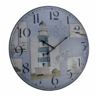 Blue and White Nautical Lighthouse Round Wooden Wall Clock - Small