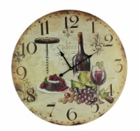 Faux Aged Red Wine Lovers Wall Clock 23 inch - One Size