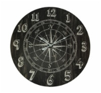 Distressed Black Wood Round Compass Rose Wall Clock - Small