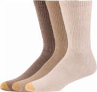 GOLDTOE® Uptown Crew Men's Socks - 3 Pack - Stone/Heather/Brown Heather