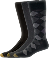 GOLDTOE® Men's Double Argyle Casual Socks - 3 Pack - Black/Charcoal/Black - 10-13